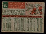1959 Topps #315  Joe Adcock  Back Thumbnail