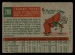 1959 Topps #289  Johnny Kucks  Back Thumbnail
