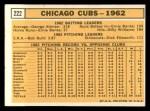 1963 Topps #222   -    Cubs Team Back Thumbnail