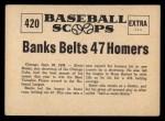 1961 Nu-Card Scoops #420   Ernie Banks   Back Thumbnail