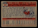 1957 Topps #59  Dick Williams  Back Thumbnail