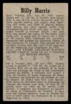1958 Parkhurst #4  Billy Harris  Back Thumbnail