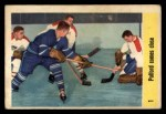 1958 Parkhurst #1   -  Bob Pulford In Action Front Thumbnail
