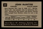 1952 Parkhurst #77  Jack McIntyre  Back Thumbnail