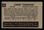 1952 Parkhurst #43  Jim Thomson  Back Thumbnail