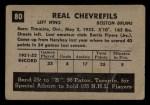 1952 Parkhurst #80  Real Chevrefils  Back Thumbnail