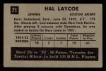 1952 Parkhurst #71  Hal Laycoe  Back Thumbnail