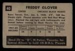 1952 Parkhurst #40  Fred Glover  Back Thumbnail