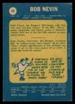 1969 O-Pee-Chee #40  Bob Nevin  Back Thumbnail