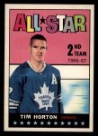 1967 Topps #127   -  Tim Horton All-Star Front Thumbnail