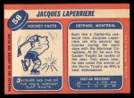 1968 Topps #58  Jacques Laperriere  Back Thumbnail