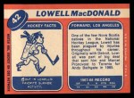 1968 Topps #42  Lowell MacDonald  Back Thumbnail
