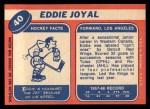 1968 Topps #40  Eddie Joyal  Back Thumbnail