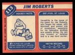 1968 Topps #113  Jim Roberts  Back Thumbnail