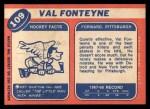 1968 Topps #109  Val Fonteyne  Back Thumbnail