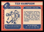 1968 Topps #85  Ted Hampson  Back Thumbnail