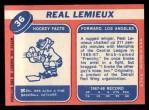 1968 Topps #36  Real Lemieux  Back Thumbnail