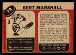 1968 O-Pee-Chee #79  Bert Marshall  Back Thumbnail