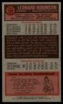 1976 Topps #104  Leonard Robinson  Back Thumbnail