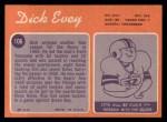1970 Topps #106  Dick Evey  Back Thumbnail