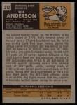 1971 Topps #212  Bob Anderson  Back Thumbnail
