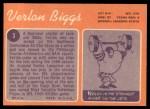 1970 Topps #3  Verlon Biggs  Back Thumbnail