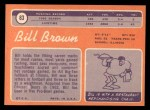1970 Topps #83  Bill Brown  Back Thumbnail