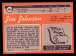 1970 Topps #245  Jim Johnson  Back Thumbnail