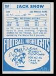 1968 Topps #184  Jack Snow  Back Thumbnail