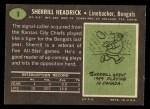 1969 Topps #9  Sherrill Headrick  Back Thumbnail