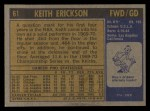 1971 Topps #61  Keith Erickson   Back Thumbnail