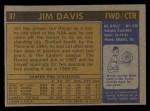 1971 Topps #97  Jim Davis   Back Thumbnail