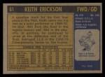 1971 Topps #61  Keith Erickson   Back Thumbnail