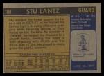 1971 Topps #108  Stu Lantz  Back Thumbnail