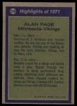 1972 Topps #279   -  Alan Page All-Pro Back Thumbnail