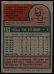 1975 Topps #478  Tom Burgmeier  Back Thumbnail