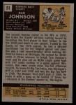 1971 Topps #51  Ron Johnson  Back Thumbnail