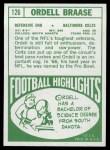 1968 Topps #126  Ordell Braase  Back Thumbnail