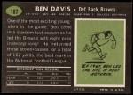 1969 Topps #187  Ben Davis  Back Thumbnail