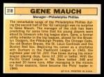1963 Topps #318  Gene Mauch  Back Thumbnail