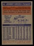 1972 Topps #48  Johnny Green   Back Thumbnail