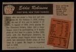 1955 Bowman #153  Eddie Robinson  Back Thumbnail
