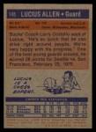 1972 Topps #145  Lucius Allen   Back Thumbnail