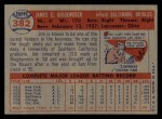 1957 Topps #382  Jim Brideweser  Back Thumbnail