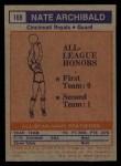 1972 Topps #169  Nate Archibald   Back Thumbnail