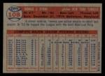 1957 Topps #108  Tommy Byrne  Back Thumbnail