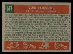 1959 Topps #147   -  Ernie Banks / Dale Long / Walt Moryn Cubs Clubbers Back Thumbnail