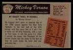 1955 Bowman #46  Mickey Vernon  Back Thumbnail