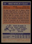 1972 Topps #128  Mike Newlin   Back Thumbnail