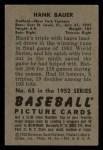 1952 Bowman #65  Hank Bauer  Back Thumbnail